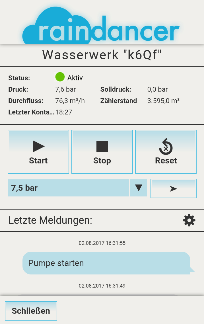Hydro Air Damsdorf Pumpenstation 75KW Pumpen Steuerung Raindancer App